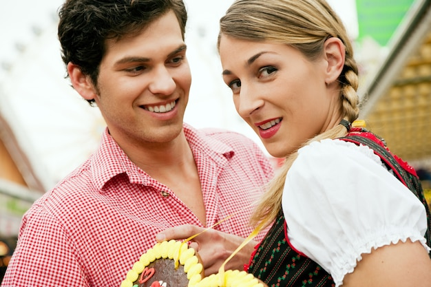 Couple with gingerbread heart