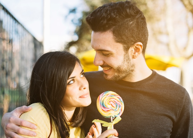 Couple with lollipop