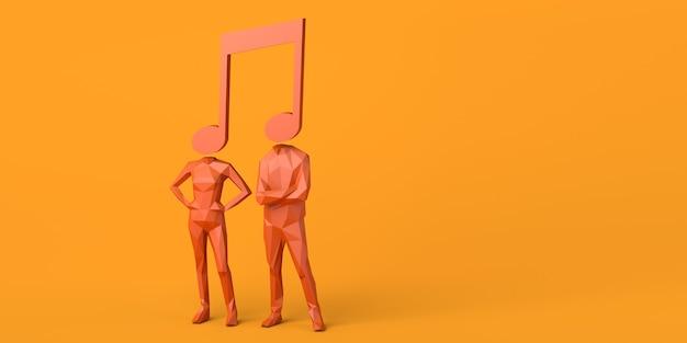 Пара с музыкальной нотой вместо головы. скопируйте пространство. 3d иллюстрации.