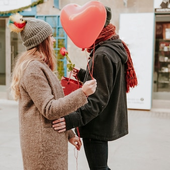 Couple with romantic gifts