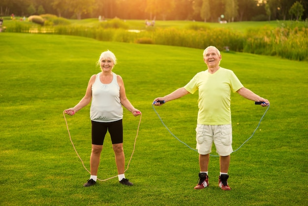 Couple with skipping ropes outdoor