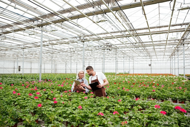 Couple of workers standing in garden near flowers and talking