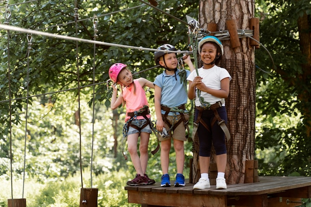 Courageous kids playing in an adventure park