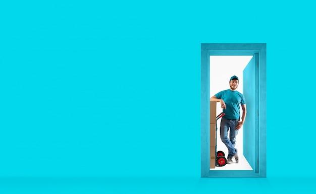 Курьер за дверью для доставки посылок. концепция доставки