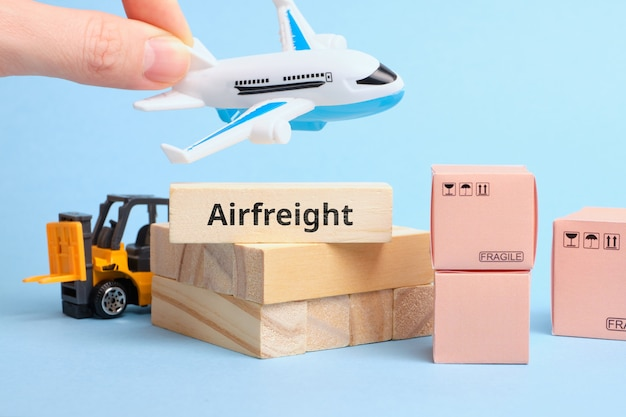Courier industry term airfreight. freight and goods carried by air.