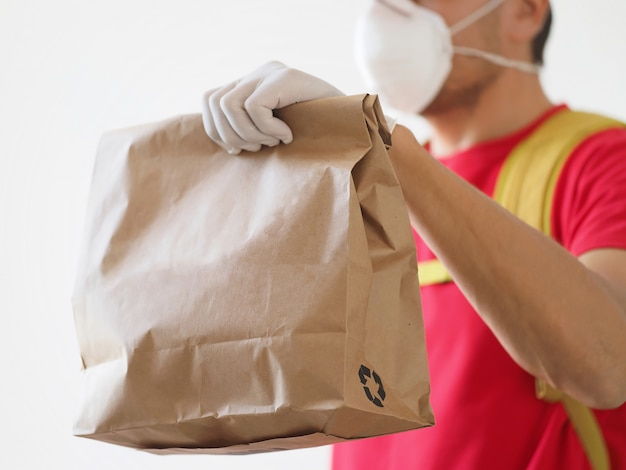 Courier safe food delivery during coronavirus.