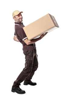 Courier with parcel and back pain isolated on white