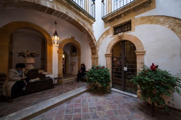 Courtyard of the jewish bath in ortigia