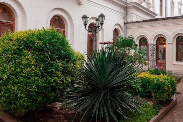 中庭、植生、修道院、宗教、緑の中庭。