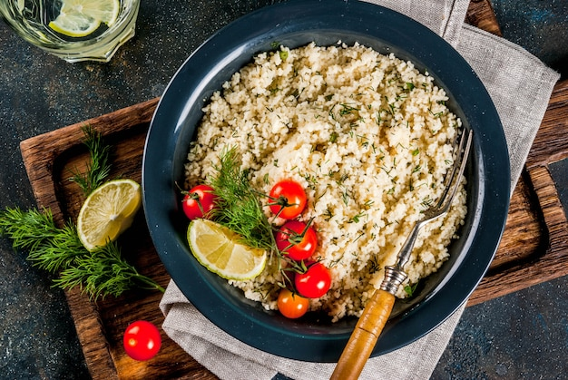Couscous with fresh vegetables and herbs