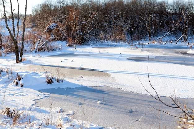겨울철에는 눈과 얼음으로 덮인 호수. 나무와 숲이있는 풍경 사진