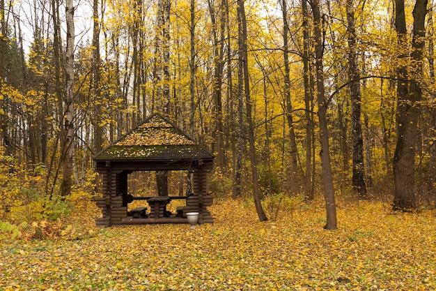 屋根付きのシーティングエリア。ガゼボ、公園や庭園のガゼボは、リラックスしておくつろぎください。公園の木製ガゼボ