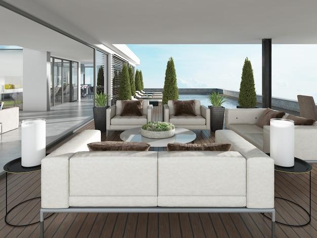 Крытая терраса с современной мебелью и вазонами. 3d-рендеринг.