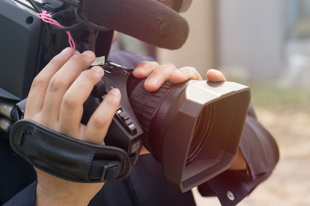 Covering an event with a video camera Premium Photo
