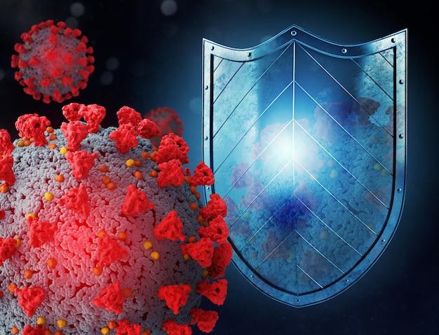 シールドはウイルス攻撃から保護します。 covid 19クラウンウイルスのパンデミックの停止の概念。 3 dイラスト