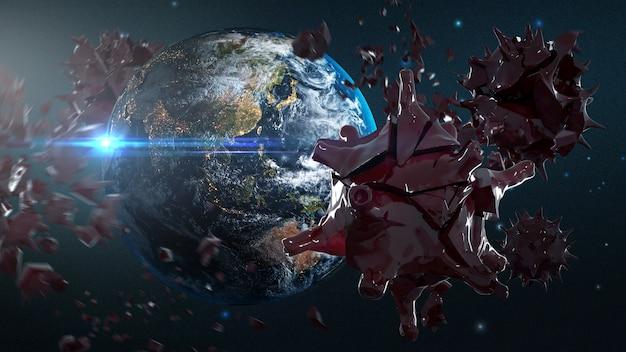 破壊されたコロナウイルスcovid-19地球の周り3dレンダリングアート。 nasaから提供されたこの画像の要素
