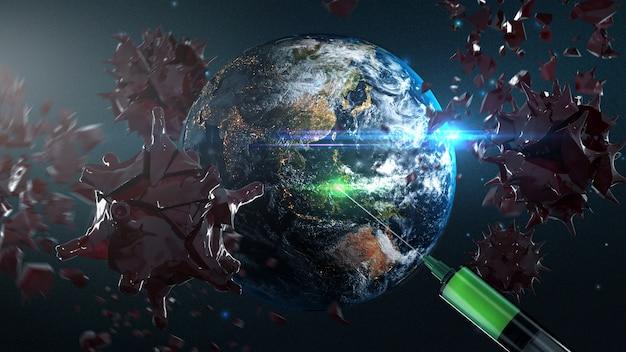地球がヴァクニーを手に入れ、コロナウイルスを破壊するcovid-19 3dレンダリングアート。 nasaから提供されたこの画像の要素