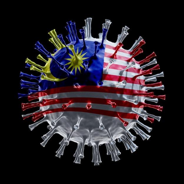 Флаг малайзии на covid-19 - вирусная концепция. 3d рендеринг