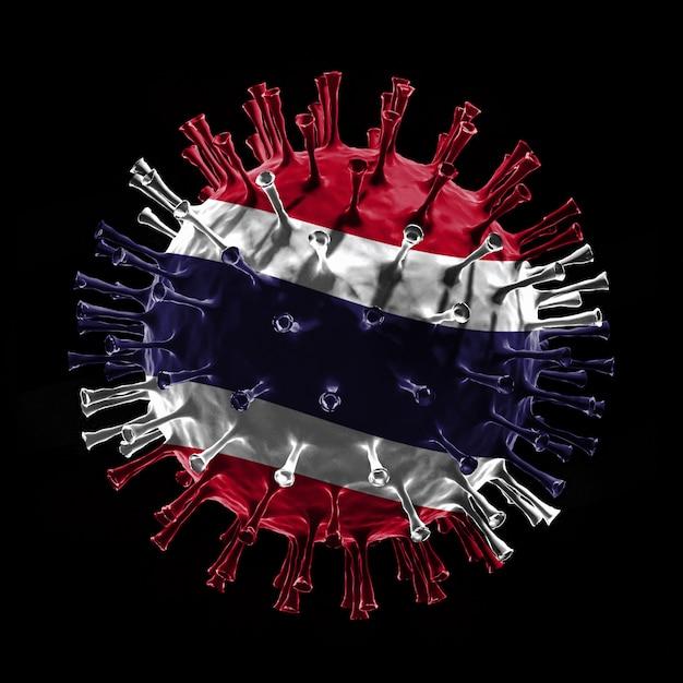 Covid-19のタイの旗はウイルスの概念です。 3dレンダリング