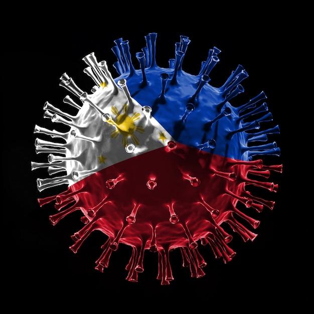 Флаг филиппин на covid-19 - вирусная концепция. 3d рендеринг