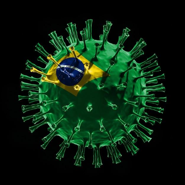 Covid-19のブラジルの旗。 3dレンダリング