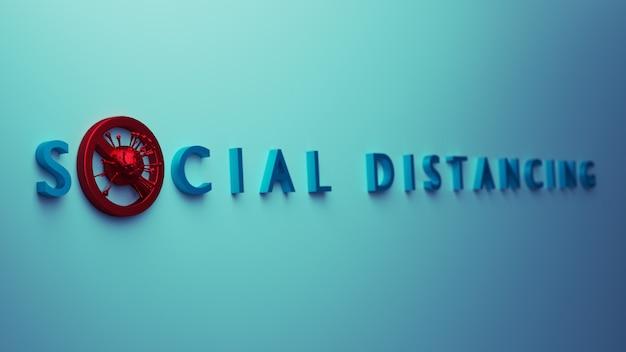 感染症の概念を防ぐ社会的距離。人々は、covid-19コロナウイルスの蔓延の概念から身を守るために社会的距離を空け、社会を避けます。 3dレンダリング。