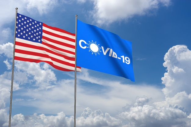Covid-19 in cloud background with usa flag and icon. coronavirus in usa. 3d rendering