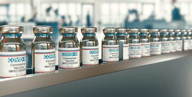 Covid 19 코로나 바이러스 약물 백신 바이알 약병 주사기 주입. sars-cov-2 백신 접종, 예방 접종, covid 19 코로나 바이러스 감염 치료 치료. 의료 3d 렌더링 개념입니다.
