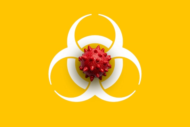 Covid 19 or corona virus model on icon from top view
