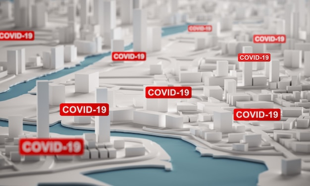 Covid-19 corona virus spreading across city. 3d rendering aerial view miniature city buildings