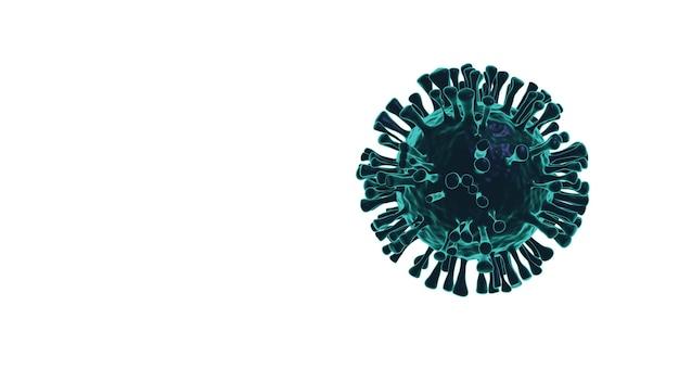 Covid-19, coronavirus, rendering di virus 3d sullo sfondo.