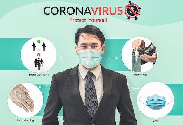 Covid-19 coronavirus prevention tips use for people to stay safe from infection