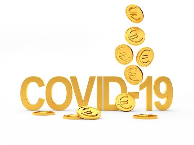 Символ коронавируса covid-19 и падающие монеты евро