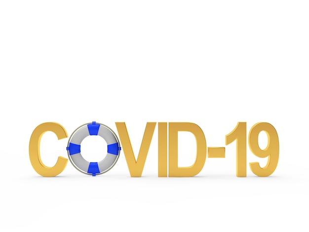 Covid-19アイコンコロナウイルスと救命浮輪