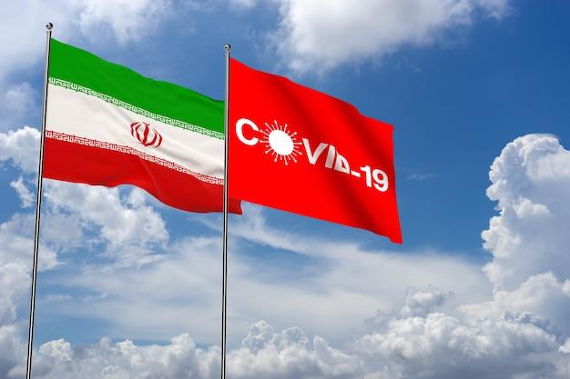 이란 국기와 아이콘이 있는 구름 배경의 코비드-19. 이란의 코로나바이러스. 3d 렌더링