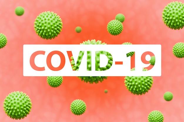 Covid-19 inscription on coronavirus model