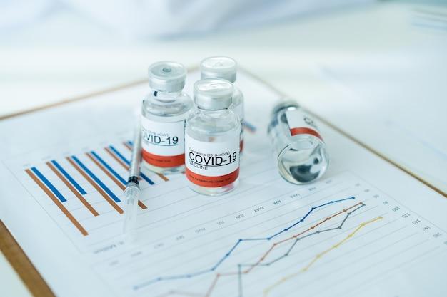 統計レポートの概念におけるcovid-19またはコロナウイルス治療ワクチン分析。写真のスペースをコピーします。 covid19ワクチン接種レポート。