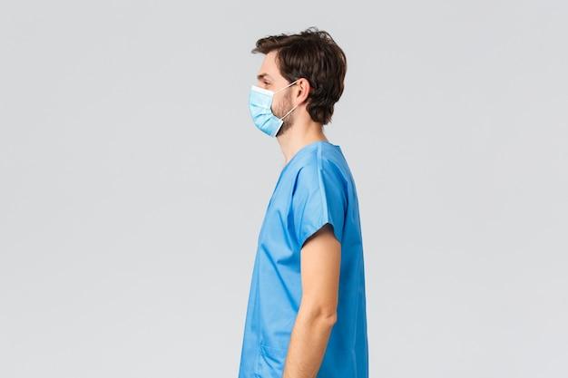 Covid-19, карантин, больницы и концепция медицинских работников.