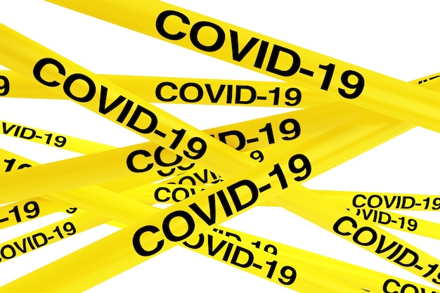 Covid-19 quarantine zone yellow tape strips on a white background. 3d rendering