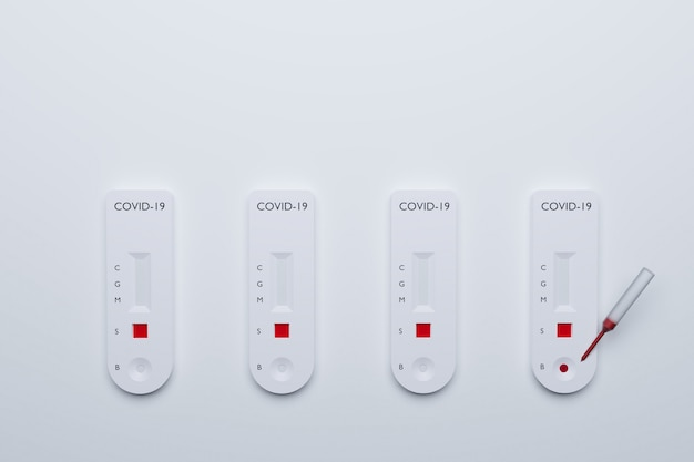 Covid-19 빠른 테스트 키트, 테스트 결과가 다른 빠른 혈액 테스트 covid19 질병, 3d 일러스트레이션 렌더링