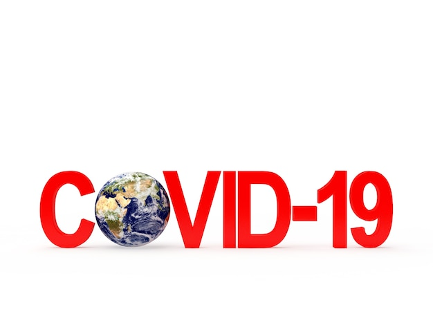 Красный значок covid-19 и планета земля. элементы этого изображения предоставлены наса.