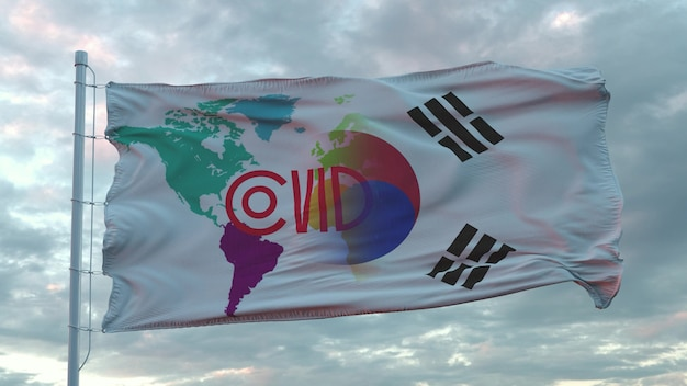 Covid-19 sign on the national flag of south korea. coronavirus concept. 3d rendering