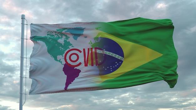 브라질 국기에 코비드-19 기호. 코로나바이러스 개념입니다. 3d 렌더링.