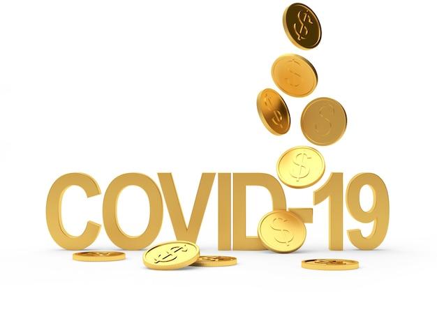 Символ covid-19 и падающие золотые монеты