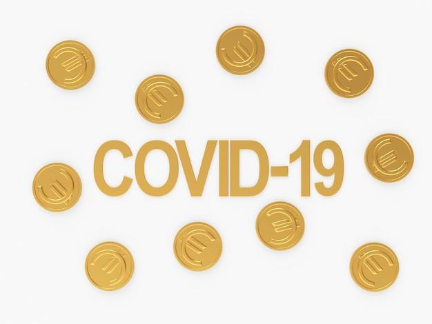 Символ covid-19 и золотые монеты евро