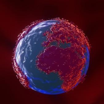 Covid 19、惑星地球はウイルスに変換されます。3dレンダリング。アルファチャネル合成カット。