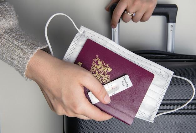 Covid-19、旅行と封鎖の概念、パスポート、医療マスク、ネガティブと若い女性の手