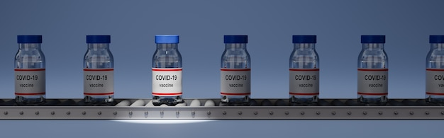 Covid 19 vaccine bottles on conveyor belt, one spotlighted