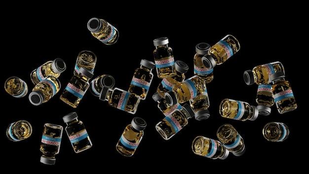 Вращение флаконов с вакциной covid-19 в воздухе. крупным планом жидкие детали в бутылках 3d визуализации