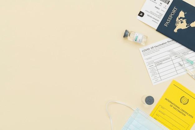 Confine del certificato di vaccino contro il covid-19 con lo spazio di progettazione